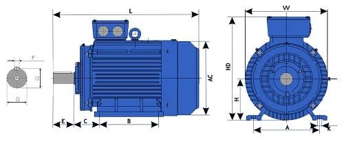 Габаритно-присоеденительные размеры электрдвигателя