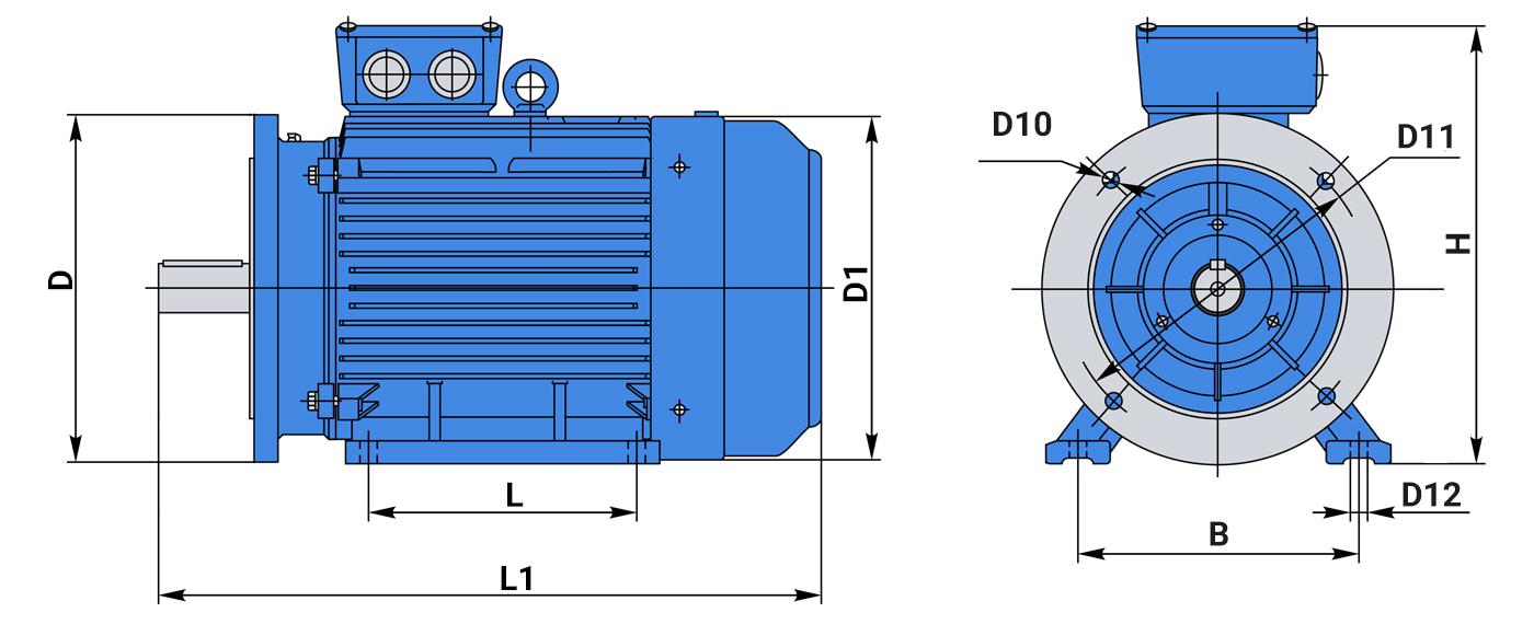 Чертеж габаритные размеры асинхронного электродвигателя