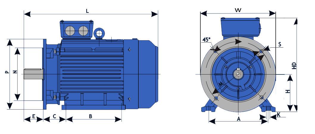 Габаритно-присоединительные размеры электродвигателя АИР225М6 - 37 кВт на 1000 об/мин с фланцем
